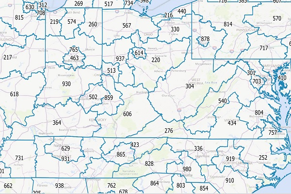 AreaCodeInfo - Canada and US area code map of landline boundaries