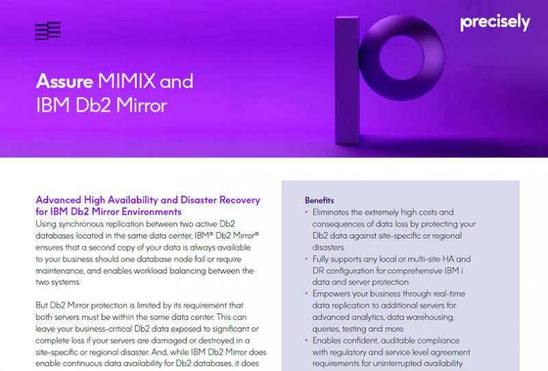 Assure MIMIX and IBM Db2 Mirror
