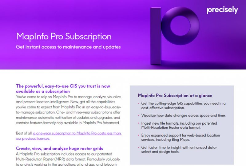 MapInfo Pro Subscription